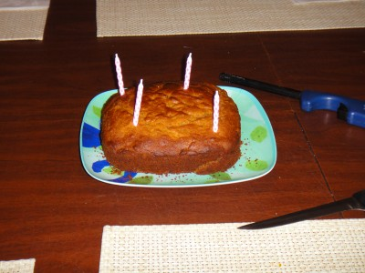 First, we had to make a dog cake.  Lots of honey and carrots.